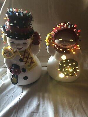 "Vintage Ceramic Snowman Lights Up 12.5"" Mold Christmas Lamp Night Light Pretty"