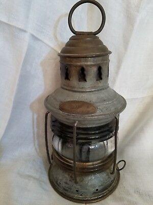 Antique Geo. B. Carpenter & Co Nautical Lantern Chicago ribbed glass Burner