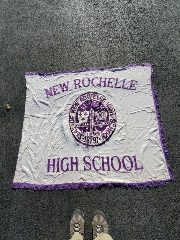 Vintage Large New Rochelle NY High School Double Sided Embroidered Banner Flag