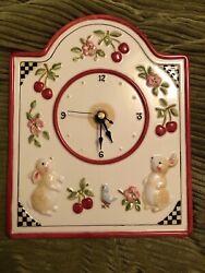 Betty Whiteaker 2000 Ceramic Vintage Wall Clock Bunnies And Cherries