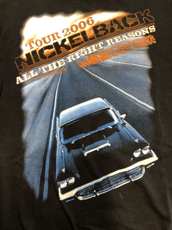 Vintage T Shirt - Nickel Back All The Right Reasons Tour  Rock NOS 2006 L Black