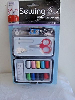Compact Sewing Supplies Set Kit w Storage Case Home Auto Travel Campers Boat Bag