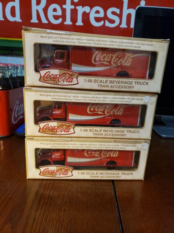 3 MISB K-LINE COKE K872-001 COCA COLA DELIVERY TRUCK 1:48 O GAUGE NEW
