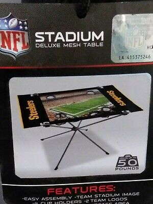 NFL Tailgate Stadium Deluxe Mesh Table STEELERS 4 Cup Holders Holds up to 50lbs Pittsburgh Steelers Nfl Tailgate Table