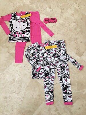 NEW Hello Kitty Girls Cotton Pajama Set - 2 Pairs with Sleep Mask Pink Size 10](Hello Kitty Girls Pajamas)
