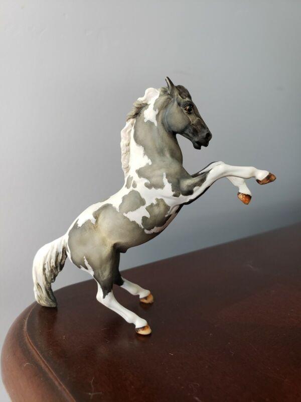 Breyer Custom Horse OOAK Stablemate Fighting Stallion Grey Pinto/Paint