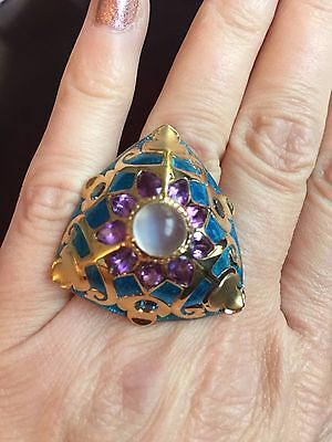 - Gorgeous Moonstone, Amethyst, Blue Topaz & Enamel Ring Silver 14kt Plated Size 7
