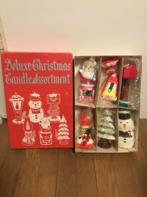 Vintage Christmas Deluxe Candle Assortment in Original Box FIVE Candles 1950s