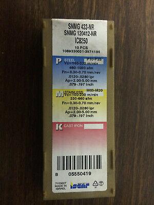 10 Pcs Iscar Snmg 433-nr Ic8250 Snmg 120412-nr Carbide Inserts