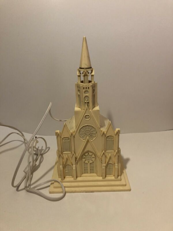 Vintage Raylite Plastic Lighted Musical Church Christmas - Works