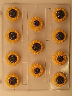 SUNFLOWER BITE SIZE CLEAR PLASTIC CHOCOLATE CANDY MOLD (Plastic Chocolate Molds)