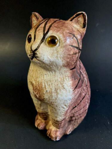 Cast Iron Cat With Glass Eyes Still Bank