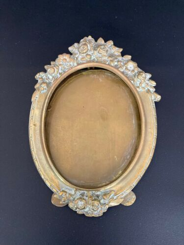 Antique Small Oval  Ornate Metal Tabletop Picture Frame