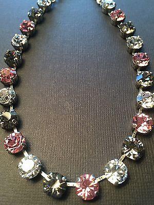 Necklace Black Diamond Pink Rose 🌹W Swarovski Elements Crystals Hematite Chain