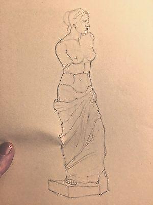 Art Deco Pencil sketch study 1920's Marie Greer nude Greek Roman female statue