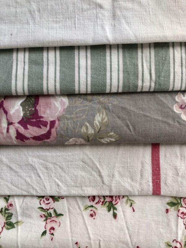 Antique vintage French fabrics GREY tones FLORAL stripes REWORK lot WASHED