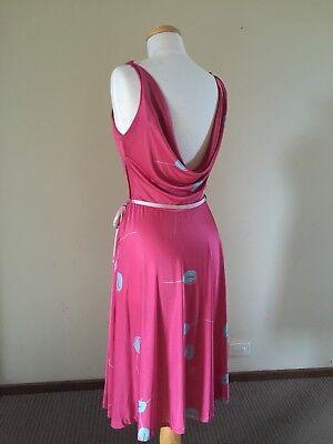 80s Dresses | Casual to Party Dresses FABULOUS Vintage 80s MAGENTA Pink TULIP Print COWL Plunge BACK Disco MIDI Dress $73.44 AT vintagedancer.com