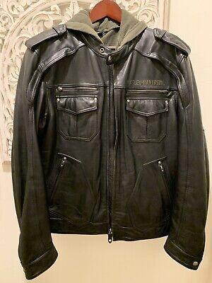 Harley Davidson XL Camaraderie Sword Leather Jacket Hoodie 3in1 L 97077-09VM