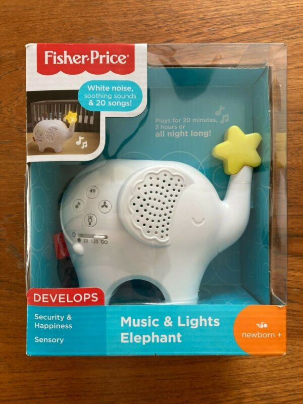 Fisher Price Music & Lights Elephant New White Noise Songs Nature Nightlight