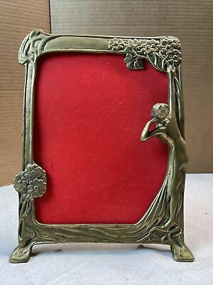 Brass Art Nouveau Picture Frame; 3D Figural; with Oval Matte and Period Cabinet Card Photograph