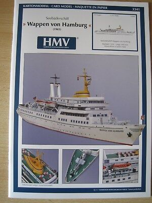 Wappen von Hamburg Seebäderschiff Schiff Kartonbausatz Bastelbogen Kartonmodell