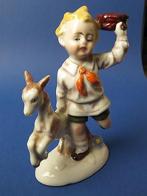 Kleine, wunderschöne Figur eines Knaben mit Zieglein, um 1940. Top erhalten!