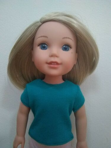 CUSTOM For Wellie Wishers AG 14.5 In Doll Teal T Shirt American Girl - $3.25