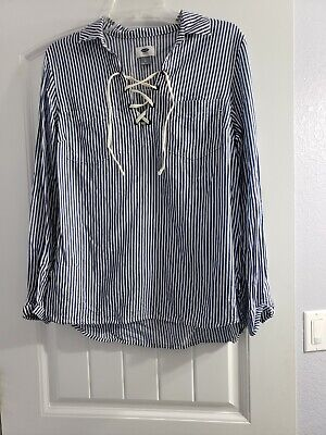 OLD NAVY BLUE STRIPE SHIRT W/LACE-UP FRONT, ROLL-UP SLEEVES - SIZE Small -