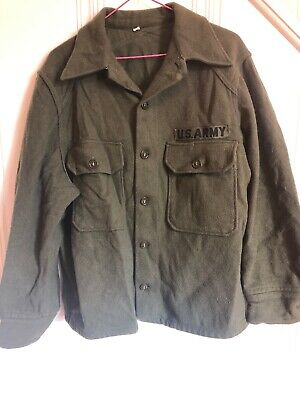 US Military Issue Army Olive Green Cold Weather Field Shirt Wool Jacket Vintage ()