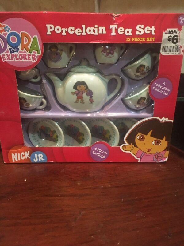 Dora The Explorer 13 Piece Porcelain Collectible Tea Set Nick Jr New