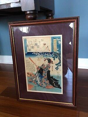 Utagawa Kuniyoshi Genji Kumo Ukiyo-e Awase Color Woodblock Japan C1845