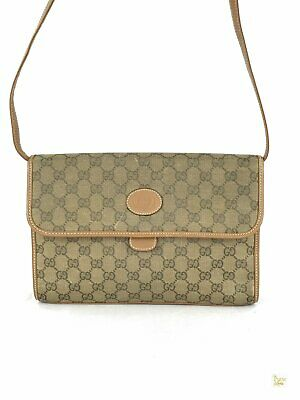 GUCCI Brown GG Web Vintage Canvas Flap Vintage Crossbody Leather Trim Bag