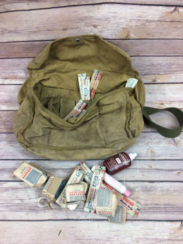 Vintage Boy Scout Canvas First Aid Kit Toiletries Messenger Day Bag