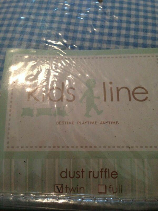 Kids line dust ruffle twin NEW blue white plaid