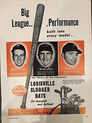 Vintage 1953 Louisville Slugger Baseball Bats Hank Sauer Ferris Fain Ralph Kiner