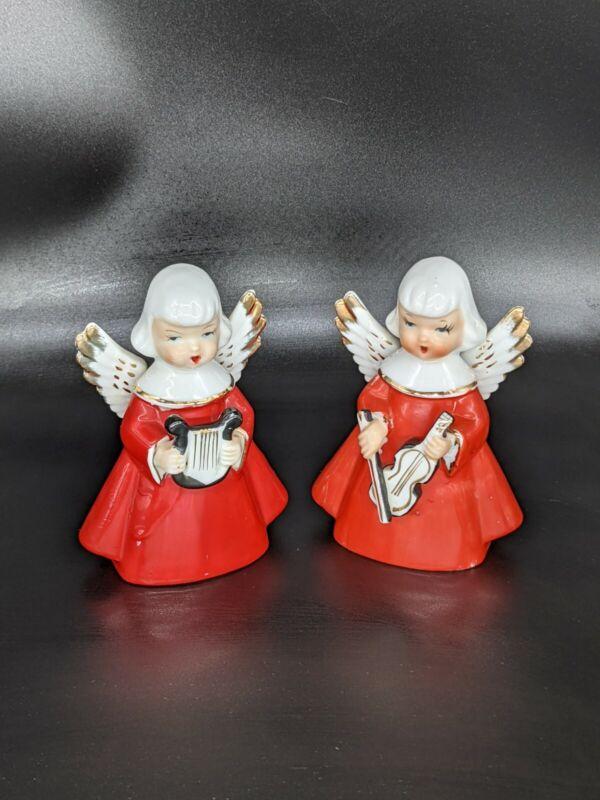 Vintage Pair Chase Christmas Musician Angel Figurines Violin Harp Made in Japan