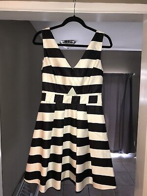 Do+Be Sleevless Black And White Stripe Party Dress Size Medium