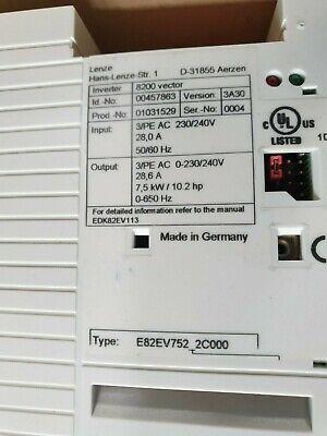 Lenze E82ev752k2c000 00457863 8200 Vector 3-250v 7.5kw Frequency Inverter R1s2.