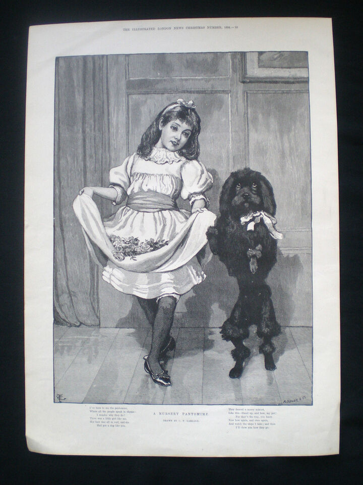 NURSERY PANTOMIME GIRL DANCING WITH PERFORMING POODLE TYPE DOG OLD PRINT 1894