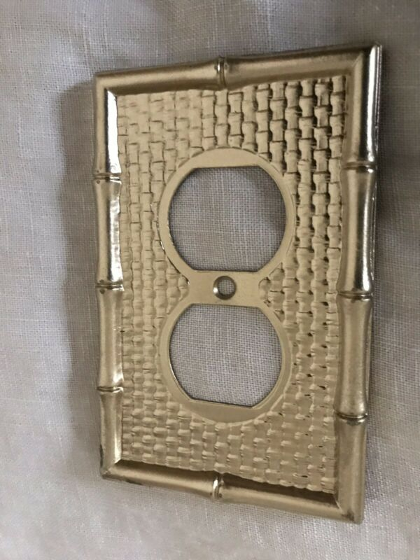Vintage Switch Plate Double Outlet Metal Bamboo Embossed Pattern Gold