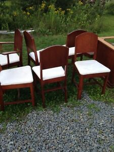 Cherry wood table four chairs and buffet
