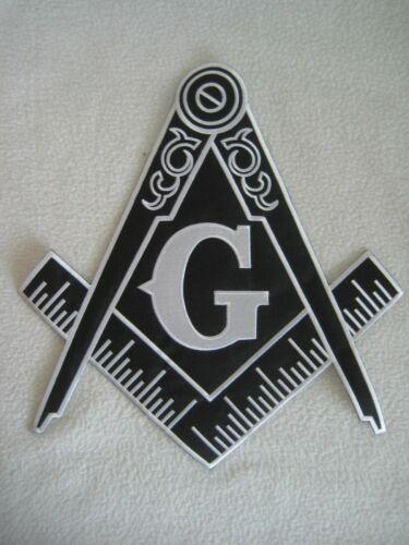"Large Masonic Freemason Logo Embroidered Patch Iron On Square Compass 12"" by 11"""