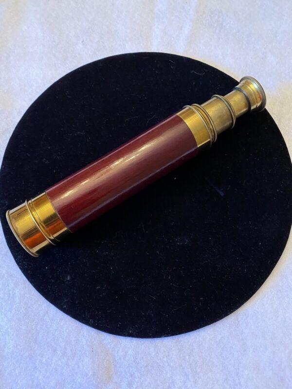 Vintage 1800s Antique Original 3 Drawer Spyglass Brass Wood Cardboard Case