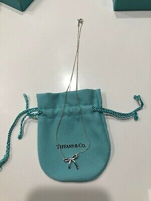 "Tiffany & Co. Sterling Silver Ribbon Bow Tie Pendant Necklace - 16"" Long"