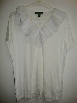 NEW Ralph Lauren T-Shirt 1X White Blouse Romantic Victorian Lace Ruffle Tee