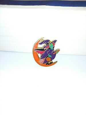 Purple Vintage Witch On Broom Orange Moon Spooky Halloween Pin Brooch Gift