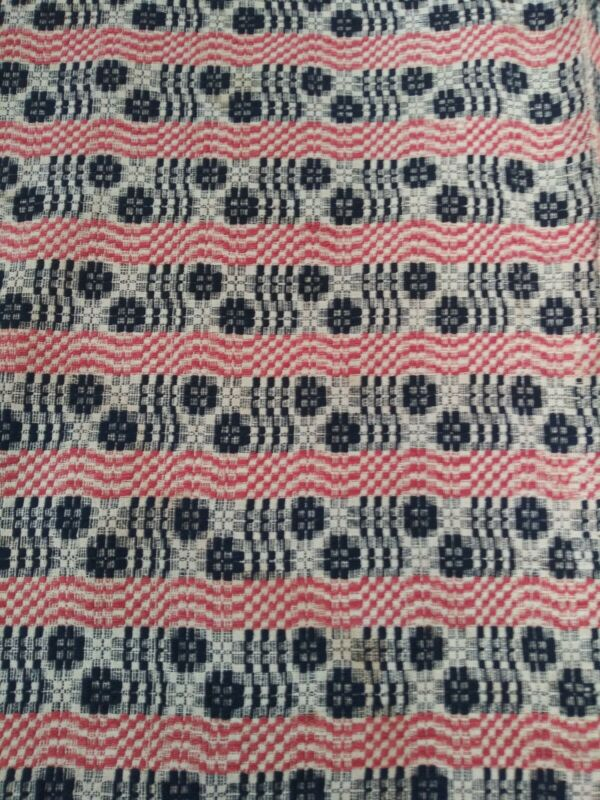 "Vintage Antique Overshot Woven Wool  Coverlet bedspread Blue, Red  100""x70"""