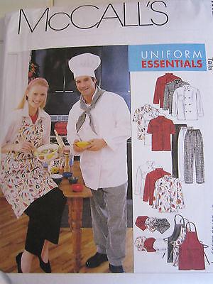 McCalls 2233 Uniform Chef Apron Hat Pants Jacket Shirt PATTERN Size XL 46-48 NEW Chef Apron Pattern