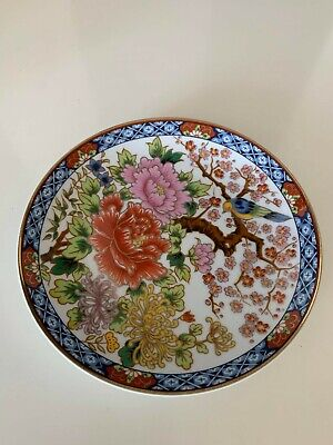 Beautiful Japanese Vintage Hand Painted Porcelain Plate Signed .