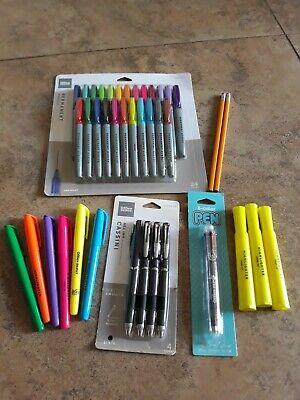 Lot 40 Office School Supplies Highlighters Permanent Markers Gel Pens Pencils
